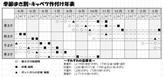 季節別・キャベツ作付け表